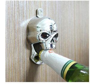 Us Metal Chrome Skull Wall Mount Bottle Opener Harley