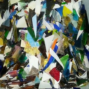 2 Pounds MIX FREECUT Scrap Mosaic TILES stained glass big pieces made in usa