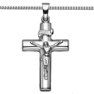 Weiß Gold 333 Jesus Christus Kreuz Anhänger Taufe Kommunion mit Kette Silber 925