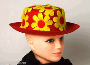 Circus Clown Derby Hat with Flower Red