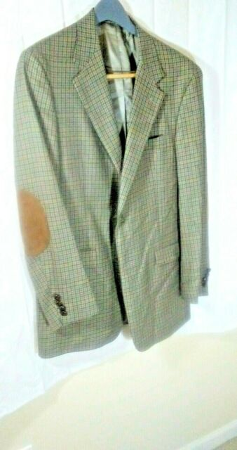 Austin Reed Mens 41l Wool Sport Coat Plaid Elbow Patch Retail 295 New For Sale Online