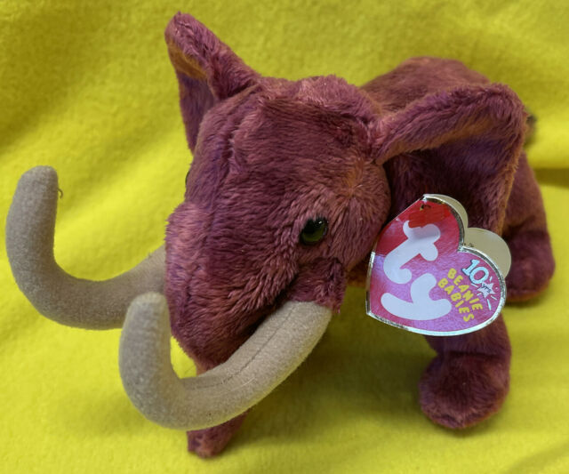 """TY MWMT COLOSSO THE WOOLY MAMMOTH BEANIE BABY- 8"""" Date Error+Unique Tag barcode"""