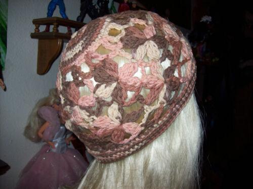 Cotton Handmade Crocheted Browns Tones Beanie Size M