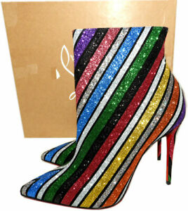 size 40 2caa9 5e53a Details about Christian Louboutin So Kate Boots 100 Striped Glitter Suede  Ankle Booties 37