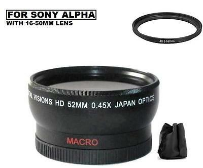 Ultra Wide Angle Macro Lens for Sony Alpha Nex 5t 3n a6300 a5100 a6000 16-50mm