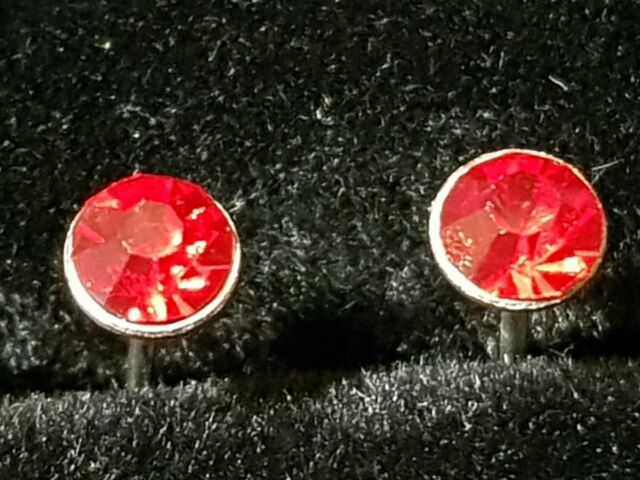 PUNK ROCK RED RUBY  Coloured CZ Stainless Steel Earrings Studs 5.MM