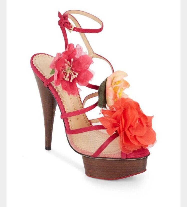 Charlotte Olympia Botanica  Flower Platform Sandal scarpe Sz 37  1295 SOLD OUT  consegna veloce
