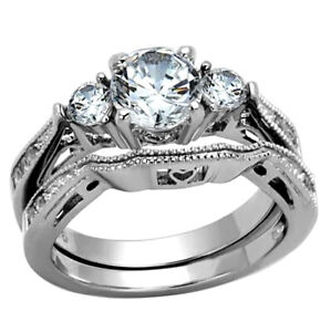 2-50-Ct-Round-Cut-AAA-CZ-Stainless-Steel-Wedding-Band-Ring-Set-Women-039-s-Size-5-11