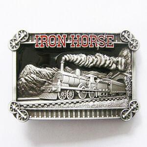 Hommes-boucle-de-ceinture-Iron-Horse-train-Boucle-de-ceinture-Gurtelschnalle-Boucle-de-ceinture