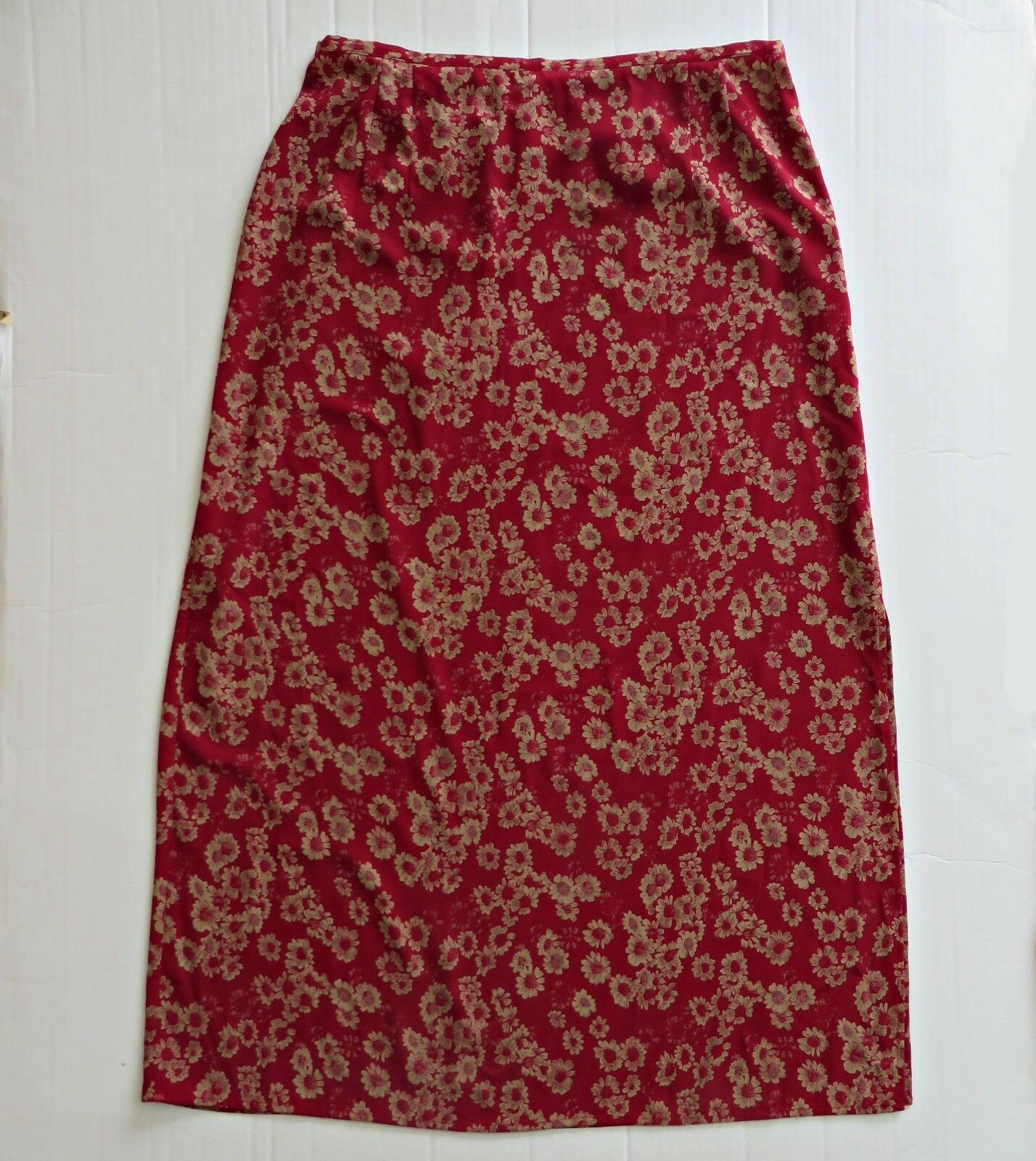 NORTON McNOUCHTON Red Floral Long Maxi Straight Pencil Skirt Women Size XL NWOT