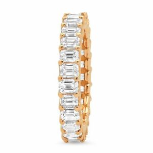 3-70CT-18K-Rose-Gold-Natural-Emerald-Cut-Diamond-Eternity-Band-Engagement-Ring