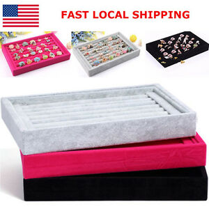 Durable Ring Earrings Jewelry Organizer Box Velvet Tray Holder