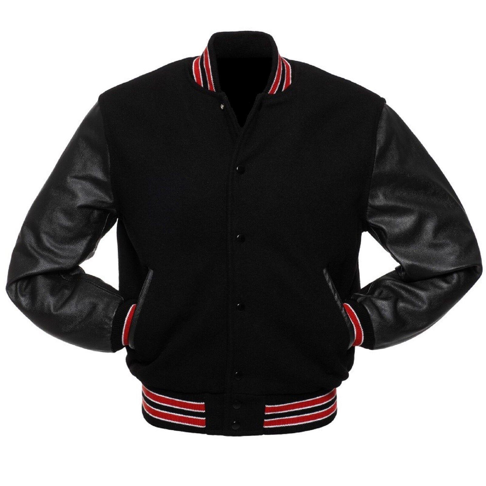 Lana Nero nera in in nera vera pelle Maniche Varsity Letterman Giacche Rosso e Bianco a Coste 20676e