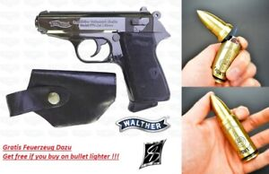 Pistolen-Feuerzeug-PPK-Gun-Lighter-Chrom-Feuerzeug-Patrone-NEU