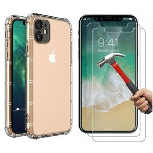 Case and 2 Screen Protector iPhone 12 11 Pro Max XS XR SE 6 7 8 Plus Cover Clear