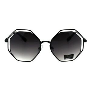 9b28b86cecf7 Image is loading Womens-Octagon-Shape-Sunglasses -Oversized-Double-Metal-Frame-
