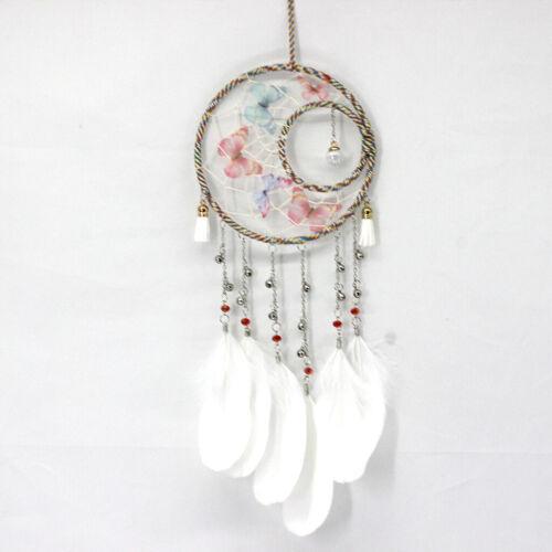 Attrape Rêve Blanc Dreamcatcher à Plumes Gland De Papillons Fait Main