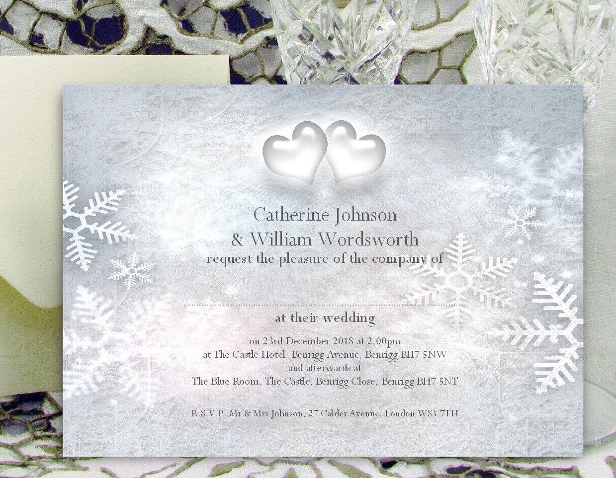 Large Personnalisé Mariage Invitations flocon de neige coeurs hiver avec enveloppes