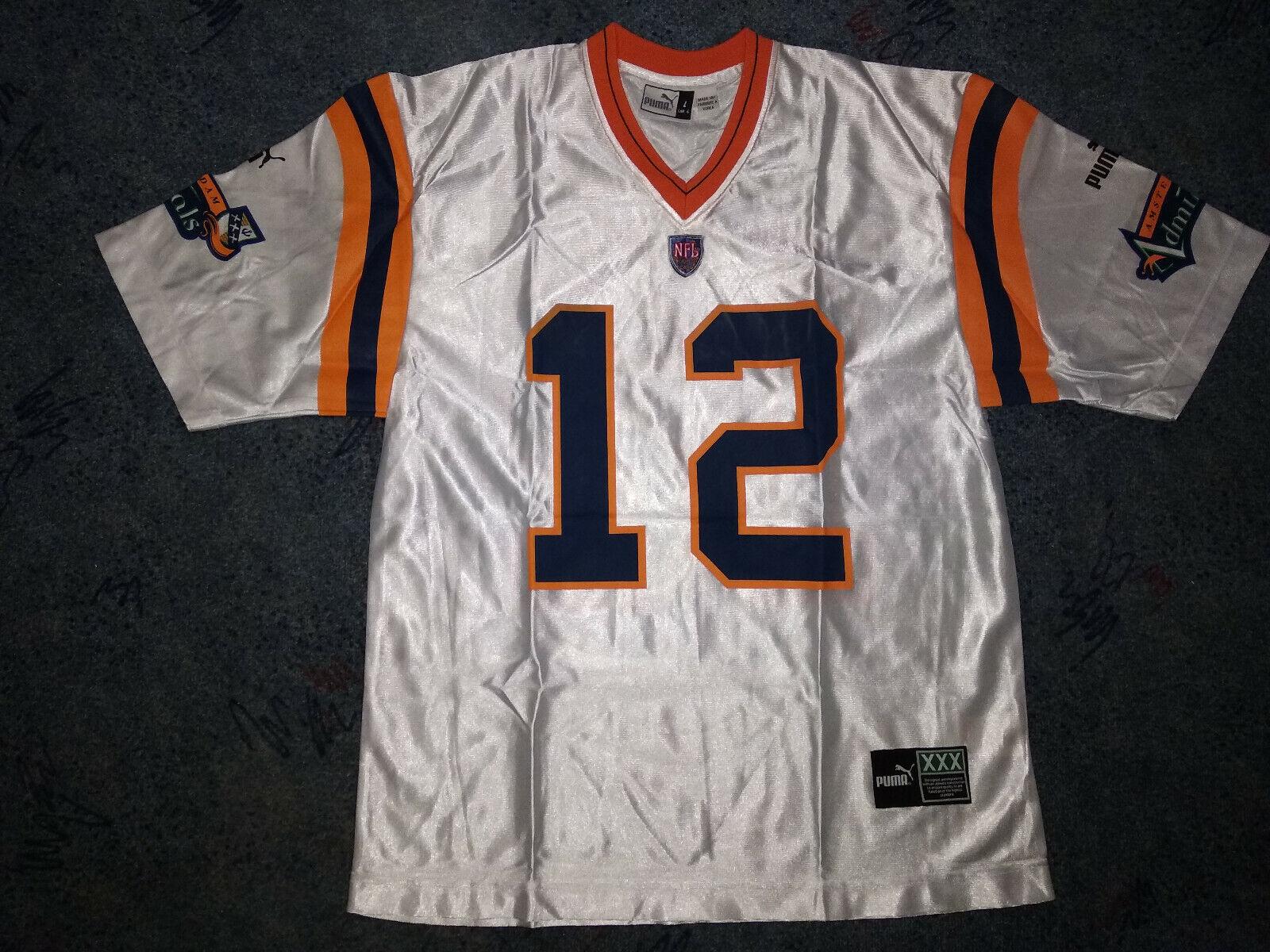 Vintage Puma  12 Amsterdam Admirals 1999 NFL Trikot Trikot Trikot Silber Gr.L NEU 00e51e