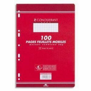 3 lot de 100 pages feuillets mobiles petits carreaux  CONQUERANT