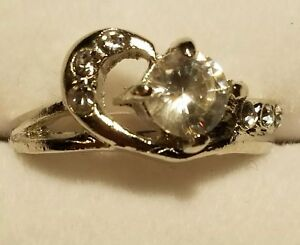 New Fashion Engagement Promise Ring MELODY Style Silver Plated 18K CZ Sizes 5-9