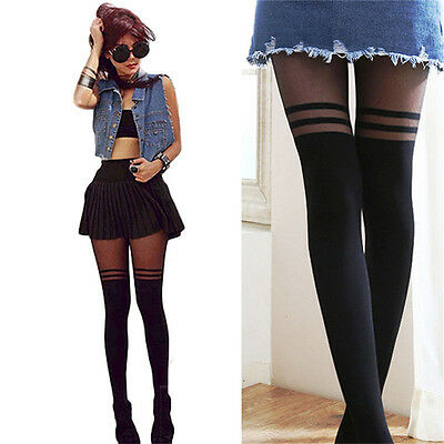 Black  Top Women Temptation Sheer Mock Suspender Tights Pantyhose Stockings Cool