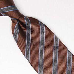 Gladson-Mens-Silk-Necktie-Brown-Gray-Light-Blue-Repp-Stripe-Weave-Woven-Tie