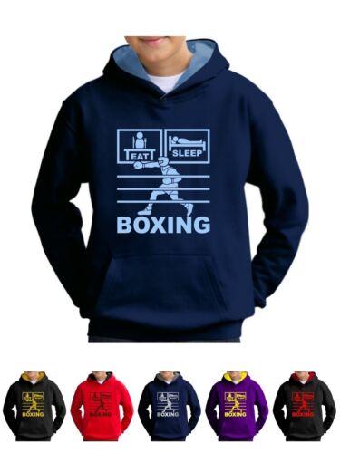 Eat Sleep Boxe Sweat à Capuche Sweat-Shirt Avec Gant Coiffures-Smartphone Compatible