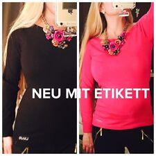 Liujo Liu Jo Jeans Basic Pullover Luxus Strass Schwarz Pink XS/34 Maglia Chiusa
