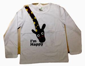 "Girls  Boys Double Sided White L//S Giraffe Tee Top Shirt /""I/'m Happy/"" Size 4T 5"