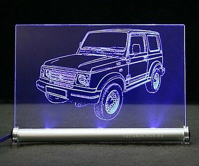 Suzuki Samurai AutoGravur auf LED-LeuchtSchild SJ 4x4