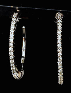 Roberto-Coin-Diamond-Earrings-1-034-Hoops-18K-Gold-0-49-ctw-3600-Sale-Gorgeous-New