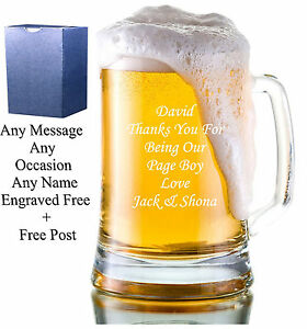 Personalised-Engraved-Glass-Tankard-Father-039-s-Day-Birthday-Usher-Best-Man-Gift
