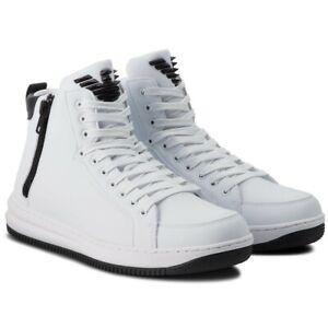 Sneakers-Uomo-Armani-EA7-X8Z007-XK025-Scarpe-Pelle-Nere-Bianche-Zip-Nuove
