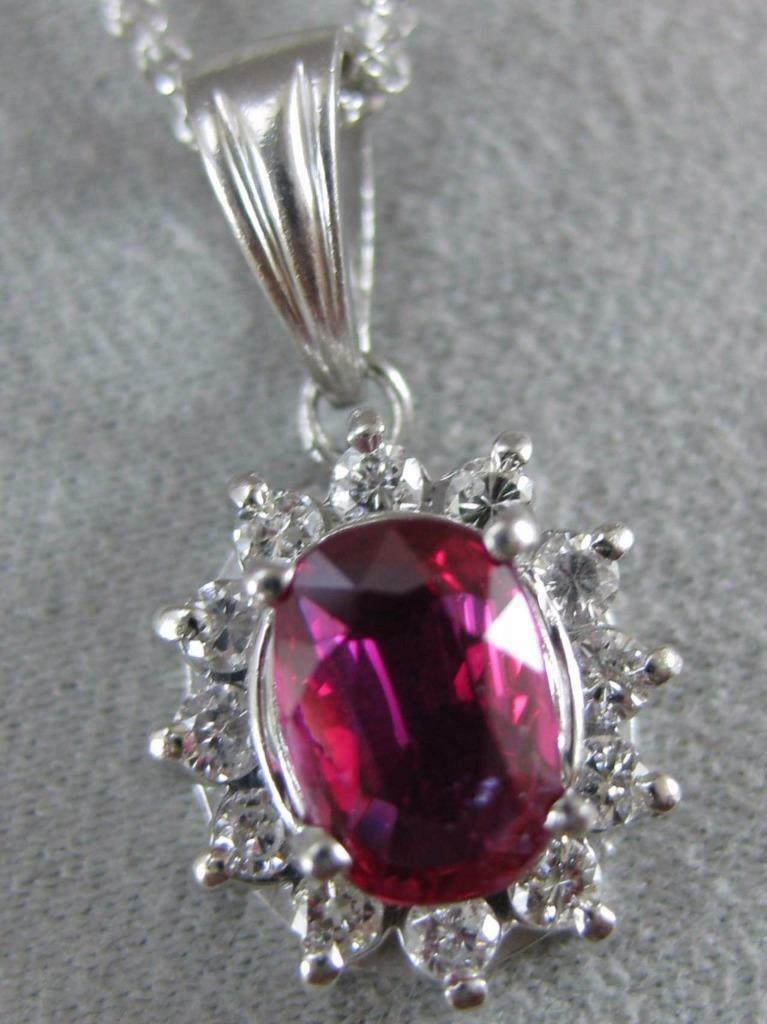 ESTATE 1.65CT DIAMOND RUBY PATINUM LADY DIANA CLU… - image 1