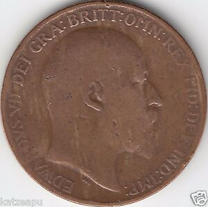 Grossbritannien-1910-King-Edward-VII-One-Penny-Muenze