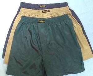 3-thai-silk-Boxer-Biancheria-da-notte-Pantaloni-BOXER-M-intimo-ORO