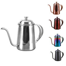 1pc Stainless Hand Drip Coffee Pot Pour Over Gooseneck Tea Kettle, 650ml, Silver