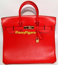 AUTHENTIC HERMES ROUGE VIF GULLIVER BIRKIN HAC 32CM GOLD PLATED HW - PREOWNED
