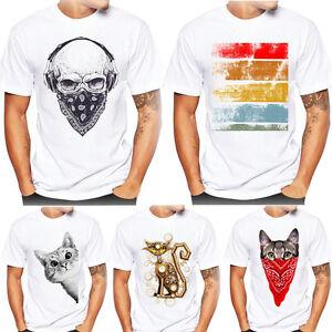 Hombre-Mujer-Impresion-Camisetas-Camisa-de-manga-corta-algodon-blusa-CAT-dibujos