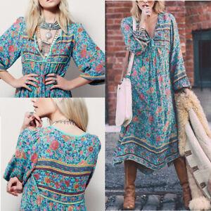 Damen Boho Hippie Sommerkleid Maxikleid Freizeitkleid Partykleid Strandkleider