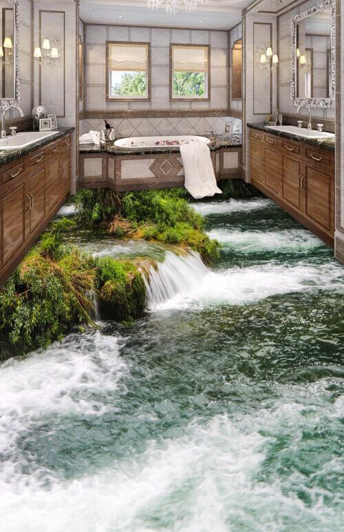 3D Shrub Stone River 70 Floor Wall Paper Murals Wall Print AJ WALLPAPER UK Lemon