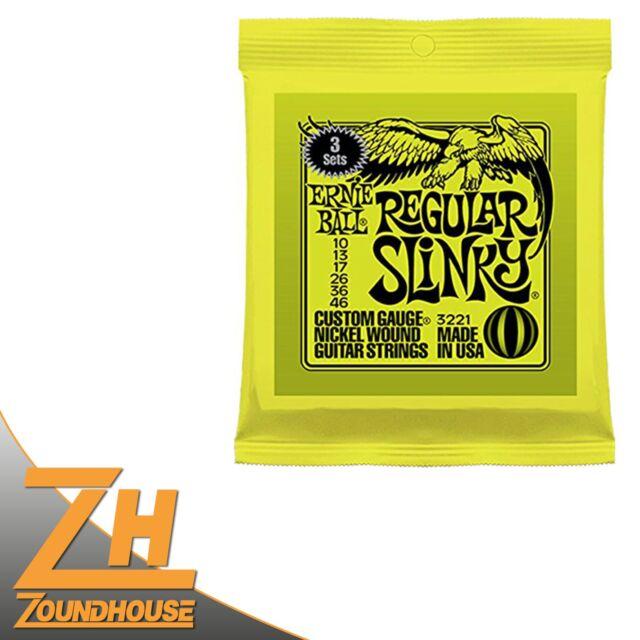 3 Saitensätze für E-Gitarre 3 Pack Ernie Ball EB3221 010-046 Regular Slinky