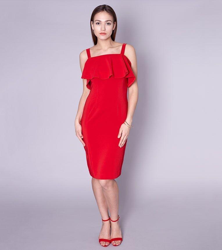 Romantisches Designerkleid Volantkleid Knielang ohne Ärmel Rot Gr. 36 38 40 42