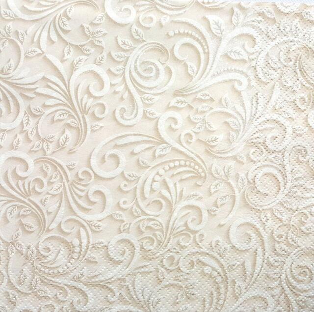 4 Single Lunch Paper Napkins for Decoupage Craft Vintage Cream Beige Lace art3