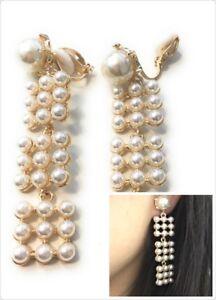 Long-Faux-Pearl-Dangle-Drop-Clip-on-Earrings-Women-Ladies-Clipon-Tassel-Bridal