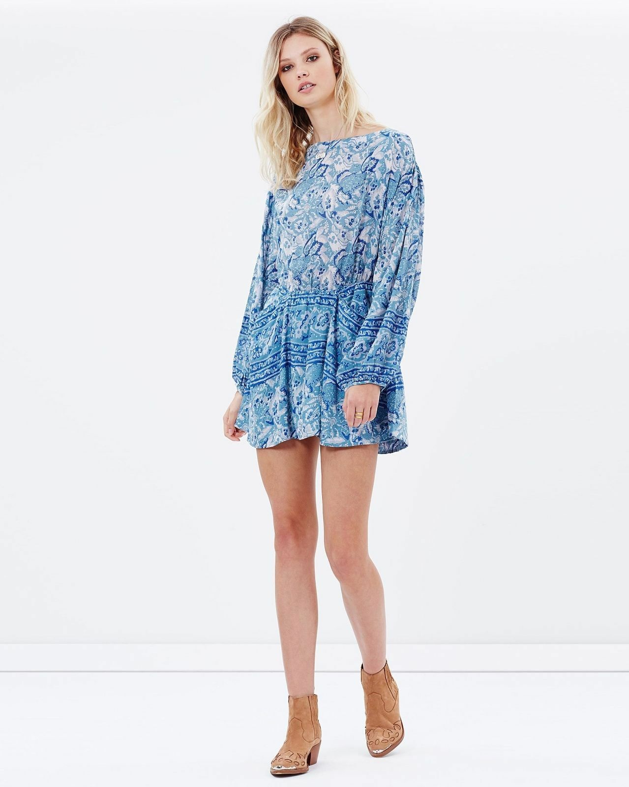 dfe4966a78ee8 New Free People Sheer bluee Print Floral Dress Washed bluee XS Sun  nxwrid2311-Dresses