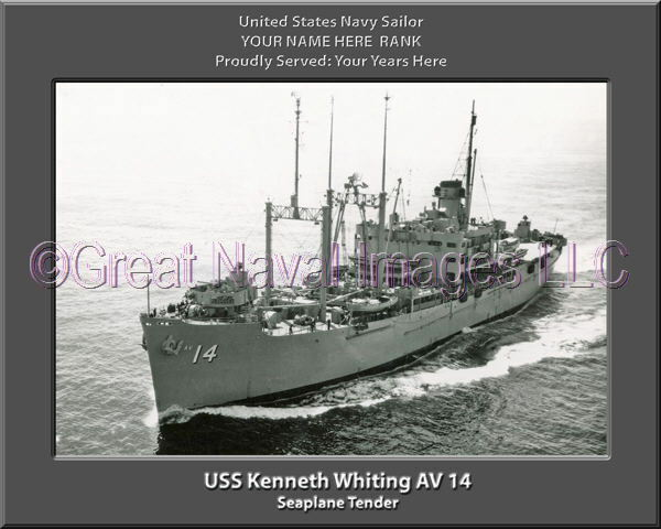 USS Kenneth Whiting AV 14 Personalized Canvas Ship Photo Print Navy Veteran