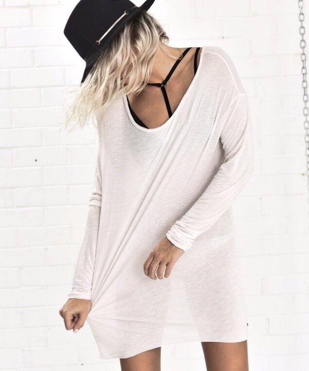 One Teaspoon Tee XXS XS Soho Blend Shirt Dress Relaxe Light Pink Top Basic NWT