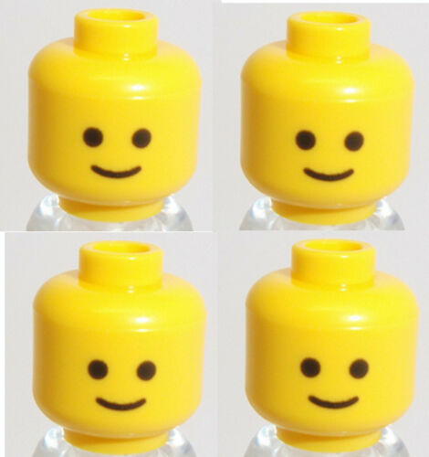Lego Minifig Heads x 4 Yellow Standard Grin Heads
